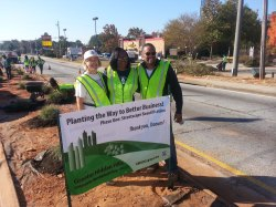 Jan Costello, Commissioner Johnson, and Keep DeKalb Beautiful Director Gordon Burkette